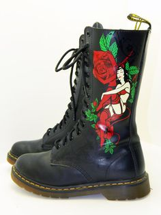 Womens size 9 Bad Girl Dr Marten leather 14 hole by RubesRelics, $156.65