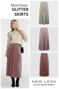 Discover the latest trends at New Look. Pleated Midi Skirt, Must Haves, New Look, Latest Trends, Burgundy, Template, Glitter, Style Inspiration, Skirts