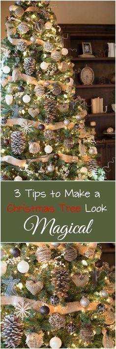 3 Tips To Make Your Tree Magical Farmhouse, Rustic Style Christmas Tree. Country Christmas, Simple Christmas, Winter Christmas, Christmas Home, Christmas Crafts, Scandinavian Christmas, Beautiful Christmas, Father Christmas, Modern Christmas