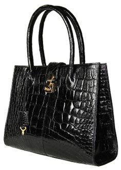"Amazon.com: Sultan Genuine Alligator ""Zaap"" Satchel Bag - Black Classic (Gloss) - One Size: Clothing"