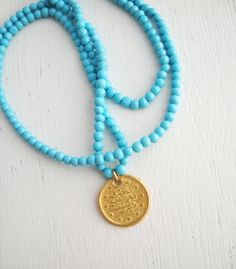 Gold Coin and Turquoise Beaded Necklace
