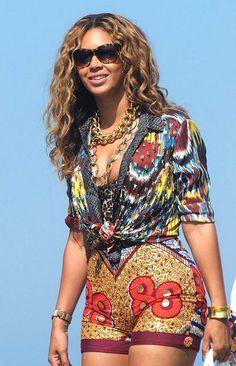 Beyonce wearing African prints