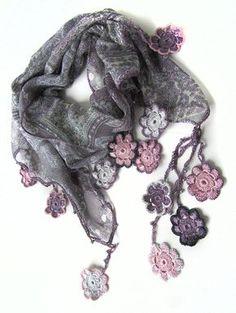 Mother's Day Finds by Matthew Hamblen on Etsy Crochet Flower Scarf, Crochet Flower Patterns, Lace Scarf, Crochet Scarves, Crochet Flowers, Form Crochet, Crochet Motif, Crochet Shawl, Crochet Lace