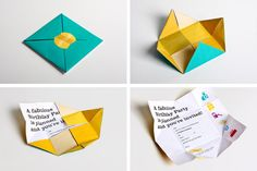 Origami by Wondereight , via Behance - Graphic Files Leaflet Design, Graphic Design Layouts, Design Graphique, Art Graphique, Origami, Magazine Ideas, Bar Design Awards, Buch Design, Creative Brochure