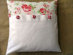 Cushion-Cover-with-Cath-Kidston-Ikea-Rosali-Fabric-Panel-Gingham-Buttons