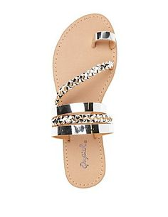Braided and flat metallic faux leather straps create a summer-ready slide sandal with a trendy toe loop in front! Toe Loop Sandals, Shoes Flats Sandals, Slipper Sandals, Cute Sandals, Leather Sandals, Shoe Boots, Metallic Sandals, Braided Sandals, Heeled Sandals