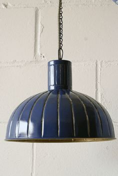 Metal Ceiling Shade with Chain - Blue