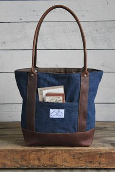 WWII era Denim and Leather Carryall - FORESTBOUND