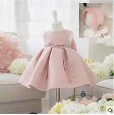 2016 New Summer Baby Girl Baptism Dress With Hat Gown Ball Pink Formal Baptism Clothes Baby Girl Christening Gowns From Cutekidsworld, $36.65   Dhgate.Com