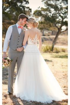 Essense Of Australia A-Line Wedding Dress With Illsion Lace Style D2085