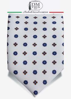 YAREN - Cravatta 7-pieghe bianca in seta stampata - CRAVATTE STILE INGLESE
