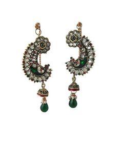 Dangle Earrings American Diamond Peacock Bollywood Drop Earrings
