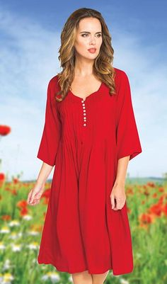 Casual Weekender Dress - Stand out in this fashionable dress with three-quarter sleeves and a scoop neckline. Center front neckline has graceful open slit detailing, complemented by rows of neat pleats across the front. Woven viscose. Machine wash.