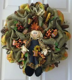 Fall Wreath Burlap Ploy Mesh Welcome Wreath by PJCreativeWreaths, $60.00