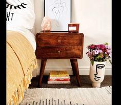 Scandinavian Bedside Table Vintage Retro Furniture Nordic Side | Etsy Bedside Table Decor, Rustic Nightstand, Bedside Tables, Elegant Home Decor, Elegant Homes, Bedroom Goals, Budget Home Decorating, Brown Cabinets, Bedroom Night Stands