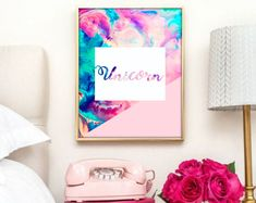 Multi coloured, pastel Unicorn print. Unicorn, unicorn print, home décor, room décor, teen room décor, teen décor, unicorn décor, unicorn decoration, pretty wall art, wall art, printable art