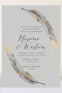 Metallic Dipped Feathers Wedding Invitation Suite