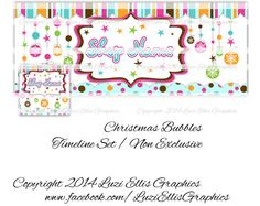 Christmas Bubbles Facebook Timeline Banner & by LuziEllisGraphics Printed Ribbon, Facebook Timeline, Fb Covers, Collage Sheet, Grinch, Invites, Circles, Banners, Avatar
