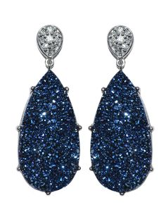 Anzie - Classique Pave Pear Earrings - Blue Drusy