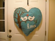 XL Burlap Heart with Love Birds by AsheliCoutureConcept on Etsy, $45.00
