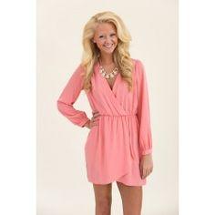 Wrap Party Dress-Pale Coral - $48.00
