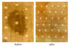 This rug was brought to us with BAD staining of unknown origin. After being treated by Rustigian's resident sorceress Julia, Aabracadabra! Stain's gone
