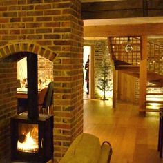 Impressive Tips and Tricks: Fireplace Surround Mid Century cozy fireplace plants.Fireplace And Mantels Master Bedrooms wallpaper fireplace wall. Double Fireplace, Farmhouse Fireplace, Cozy Fireplace, Fireplace Surrounds, Fireplace Design, Fireplace Ideas, Double Sided Log Burner, Wallpaper Fireplace, Farmhouse Design