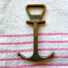Love anchors. Solid Brass Anchor Bottle Opener by PortugueseVintage on Etsy, $13.00