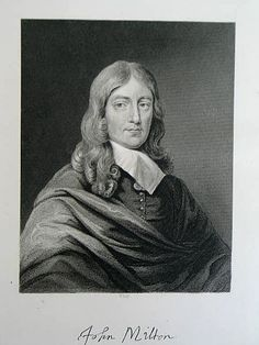 Victorian Portrait Print - John Milton - by W Hall (ANTPRNT003-RC/EB) - For Sale with Rhodons Collectables