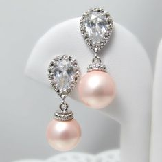 Pearl Bridal Earrings Soft Pink Blush Pearl by BeYourselfJewelry, $29.99