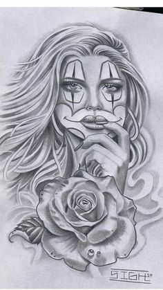 Scary Tattoos, Clown Tattoo, Leg Tattoos, Sleeve Tattoos, Behind Ear Tattoos, Graffiti Drawing, Chicano Art, Girl Sketch, Tattoo Stencils