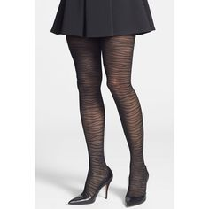 Commando 'Tigress' Semi Sheer Tights ($9.50) ❤ liked on Polyvore featuring intimates, hosiery, tights, black, tiger print tights, black tights, commando hosiery, commando pantyhose e tiger tights