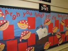 "pirates with kid look-a-likes Bulletin board. the perfect ""r"" bulletin board! Pirate Bulletin Boards, Back To School Bulletin Boards, Classroom Bulletin Boards, Classroom Displays, Classroom Themes, School Decorations, School Themes, School Fun, School Ideas"