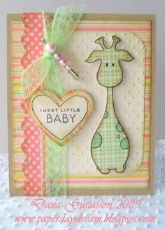 Darling Soft Pastel Baby Card...Jerry Giraffe.