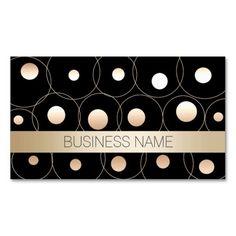 Modern Gold Circles & Dots Makeup Artist Business Card