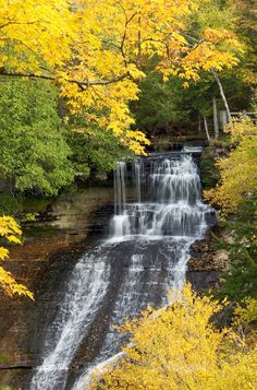 Laughing Whitefish Falls framed by the beautiful fall colors. Upper Peninsula of Michigan