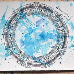 StarGate painting.  #sgc #stargate #sg1 #paint #painting #art #pencil #pen #blue #draw #drawing