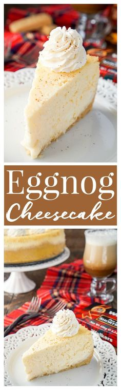 I loved this Eggnog Cheesecake! It's made with a sweet shortbread cookie crust instead of traditional graham crackers and is laced with whisky and nutmeg! I love how festive it is with a unique touch (Cheesecake Recipes) Mini Desserts, Holiday Baking, Christmas Desserts, Christmas Baking, Just Desserts, Delicious Desserts, Yummy Food, Passover Desserts, Christmas Holiday