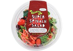 "Look! Down in the refrigerated case! It's a vegetable! It's a grain! It's… Super Spinach Salad! Yes, powerful enough to deserve an ""S"" emblazoned on..."