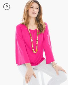 Chico's Women's Petite Flare-Sleeve Linen Top, Europa Pink, Size: 3P (16P/18P XL)