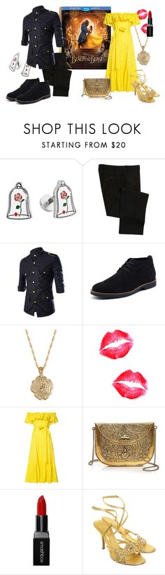 """beauty and the beast couple"" by lierallynoname on Polyvore featuring Cufflinks, Inc., Disney, Ralph Lauren, 2028, Lisa Marie Fernandez, From St Xavier, Smashbox, Sergio Rossi, couples and BeautyandtheBeast"