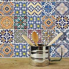 Dekorative Stickerfliesen mit tollen Motiven und Ornamenten für Wände und Fliesen | 12 teiliges Set | 15x15cm