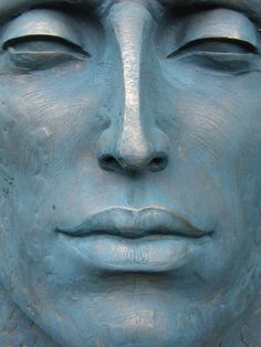 #Bronze #sculpture by #sculptor Lucy Kinsella titled: 'Monumental Blue Head'. #LucyKinsella