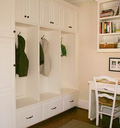Beautiful and sleek entryway storage - can also double as a mud room. Like this design? We pin tons of home inspiration for you @Porch