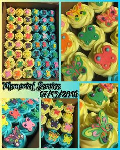 Memorial Service cupcakes.  Vanilla & chocolate w/blue & yellow frosting & fondant butterflies.  07/13/2016.