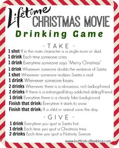 The Lifetime Channel's Christmas Movie Drinking Game---something to do with the girlfriends over christmas break. hahaha