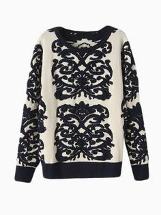 White Knit Sweater With Flower Wisteria Print at HelloShoppers