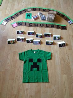Minecraft party: invites, banner, favor bags, and shirt made with cricut. Food labels made with zink happy. Cookies and cake made with love!