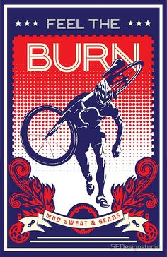 Feel the Burn retro cycling poster