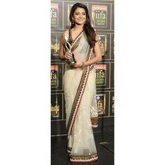 Bollywood Designer Anushka White Net Fabric Saree HEL1210